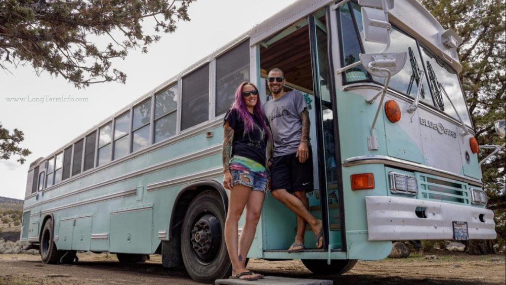 The traveler couple follows the sun with a bus house.